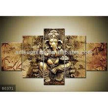 5 pieces Handmade holy Indian god ganesha paintings modern art oils on canvas