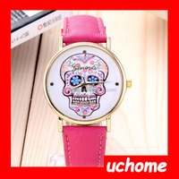 UCHOME China factory hot selling fashion cheap promotional Geneva Candy Skull dial Ladies Leather Skull Watch