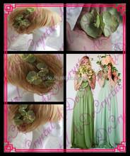 Aidocrystal green flower hair trim piece hair clip,green hair piece pins floral tiaras