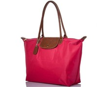 wholesale hanging women file nylon tote bag leather handle foldable shopping bag