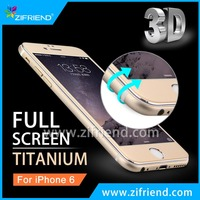 Luxury Titanium Alloy Front Full Cover Tempered Glass Screen Protector Film for iPhone 6s, iPhone 6s Plus