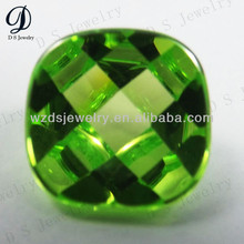 Green Square shape grid surface artificial gemstone