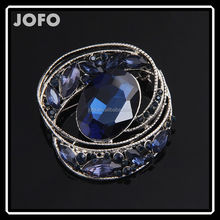 Vintage Style Nickel Free Large Oval Blue Brooch Pin Jewelry For Lady DRJ0374