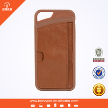 Hot sell fashion oil waxed slim leather case for phone 6 with card slots