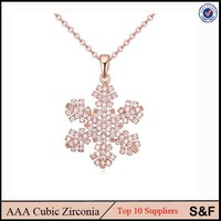 Snowflake Shape Plated Rose Gold Necklace Fashion Jewelry Citi Trends Jewelry