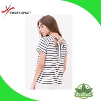 fashionable online shopping cheap printed stripe t shirt women
