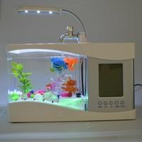 LED light USB Mini acrylic Fish Tank with LCD Calendar clock & penholder function and fish tank for sale