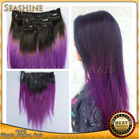 Natural ombre purple Peruvian clips in hair extension straight 1b purple hair extensions 100gram 7pcs per set