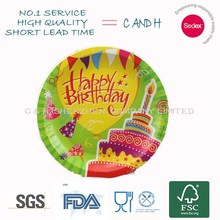 Best selling birthday party dish/birthday printing paper plate