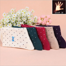 Special winter dot cotton embroidery children bow socks factory direct supply