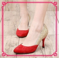 Fashion bridal high heel shoes women red glitter shoes maid of honor shoes