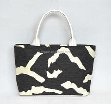 wholesale cheap zebra printed jute handle bag/ladies handbag