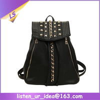 Fancy design leather college elegant women backpack