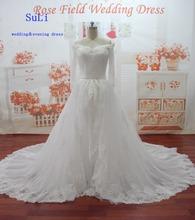 SL-013 V-neck Appliques Beading long Sleeve Off Shoulder Wedding Dress