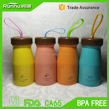 Korean New high-quality single layer stainless steel baby bottles with silicon rope RH408-380