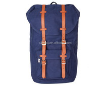 fashion large volume washed cotton vintage Canvas Backpack with leather trims in customize style Wholesale