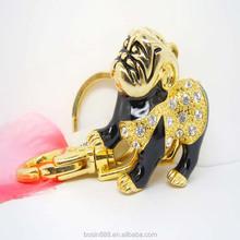 2015 hot sell metal gold 3d enamel animal shape cheap custom fashion keychain #16411