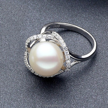 New arrival best gift to lover chinese natural pearls 925 stering silver plating rhodium high brightness wedding ring