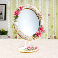 polyresin dressing table cosmetic round shape multiple color angle adjustable decorative makeup mirror BY001