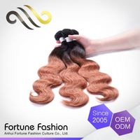 elegant top quality Custom fitted Natural Color brazilian shade two tone color hair extensions weft