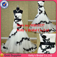 White /Ivory tulle and black lace mermaid gown the most popular in USA