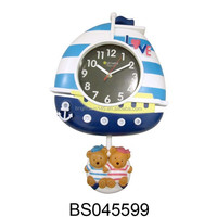 New Products Sailing Ship Fancy Design Clock Digital Swing Plastic Wall Clock for Decoration