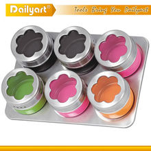 New 6pcs colorful kitchen canister set homeware modern canister sets colored glass canister sets