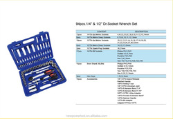 """china good supplier exporting 94pcs 1/4"""" and 1/2"""" Dr. socket wrench set socket tool set with plastic bag packed"""