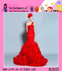 2015 Sexy Elegant Red Mermaid Evening Dress One Shoulder Red Mermaid Evening Dress