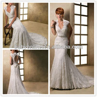 2013 Newest Deep Neckline Open Back Lace Wedding Dress With Cap Sleeves Trumpet Skirt With Long Sash