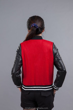 Girls embroidery M letter baseball wool jacket with sheep leather sleeve