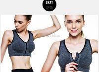 2015 Newest Design Front Zip Open Sports Bra Wholesale Sexy Gym Zip Bra