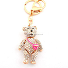 fashion wholesale custom keychains gold rhinestone bear man doll keychain hot selling keyring