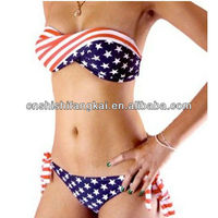 Summer Women Hot Sexy STARS and STRIPES USA Flag bikini 2012 PADDED TWISTED BANDEAU tube BIKINI AMERICAN 2013 Swimwear
