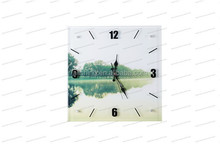 hand made canvas wall picture for decor with glass clock