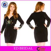 NS796 Designer 2014 Black Long Sleeve Short Party Dresses For Fat Girls