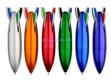 4 in 1 colorful ink plastic ball pen, new rocket shape ball pen mould