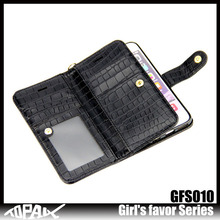 comfortable Fake Crocodile leather wallet card slots mobile phone case