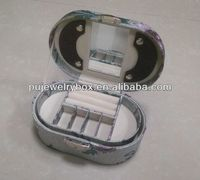 Wholesale Luxury plastic Oval floral pu leather jewelry box/case with handle and lock