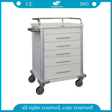 AG-MT028 CE&ISO 5 drawers powercoating steel hospital utility trolley