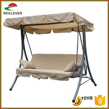 hot sale high quality metal tube frame three people hanging swing chair with bed function