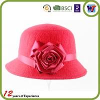 custom new fashion women wool hat girl wool hat with flower