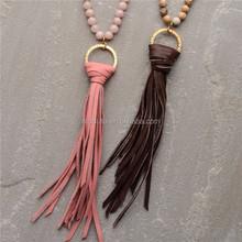 N15042803 Jasper Beaded Tassel Necklace.Long Beaded Leather Tassel Necklace. Boho Jewelry