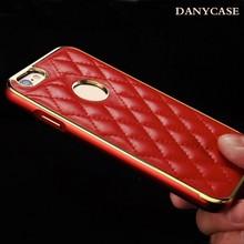 for iphone 6 cases luxury aluminum bumper + pu leather phone case