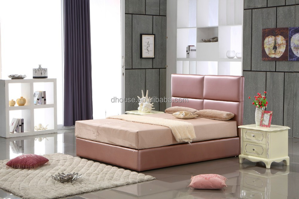 contemporary leather bed high headboard design dh216b view black