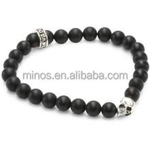 Baby 8mm Men's Black Onyx Bead Bracelet with Skull Bead Bracelet for Wholesale