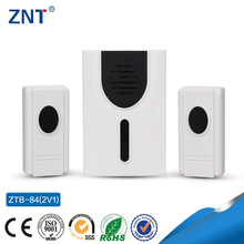 ZTP-84, two buttons and one bell,battery1*12v,23A, 3 or 32 Tunes Songs, Waterproof wireless doorbell, funny digital doorbell