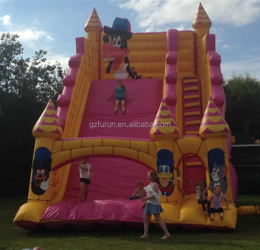 Subir inflable Mickey Mouse y Donald Duck Cartoon tema slide