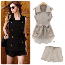Women's summer new chiffon stitching vest coat + repair waist short paragraph suit 5174 Apparel lady Suits Tuxedo