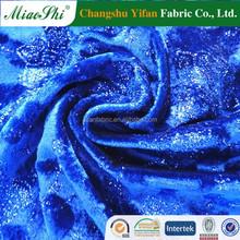 Spencer ocean blue sprayed golden floral design cotton velour for dress